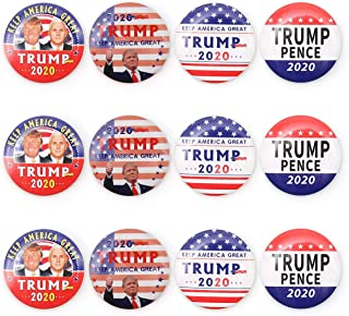 Trump Buttons Donald Trump for President 2020 Keep America Great Buttons-Pack of 12