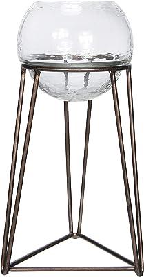 Creative Co-Op Glass Tealight Metal Stand, Set of 2 Votive Holder, Bronze