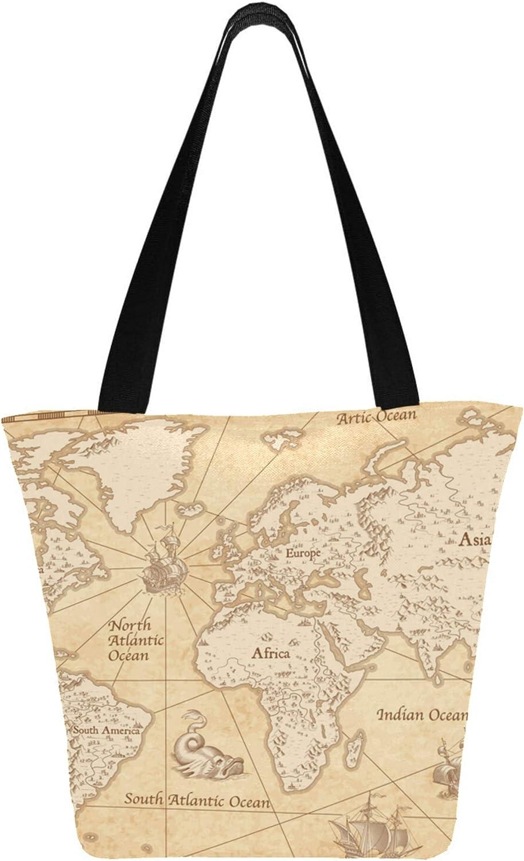 Fashion Geography Art World Map Earth 11 × 7 × 13 pulgadas Lavable a máquina Poliéster resistente Bolsas de comestibles reutilizables Bolsos de mano plegables reutilizables para mujeres