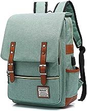 UGRACE Vintage Laptop Backpack with USB Charging Port, Elegant Water Resistant Travelling Backpack Casual Daypacks School Shoulder Bag for Men Women, Fits up to 15.6Inch MacBook in Green