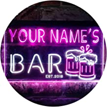 Personalized Your Name Est Year Theme Bar Beer Mug Decoration Dual Color LED Neon Sign White & Purple 400 x 300mm st6s43-w...