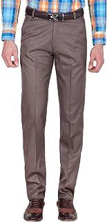 American-Elm Men's Brown Cotton Blend Formal Trouser
