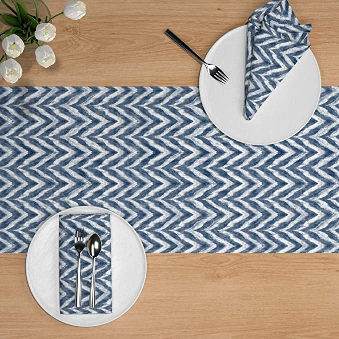 Ultra Chevrons Indigo by kristopherk Zig Zag Tablecloth Ikat Blue Chevron Watercolor Painterly Cotton Sateen Tablecloth by Spoonflower