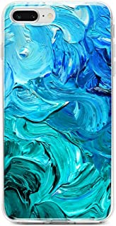 Obbii Case for iPhone 7 Plus/ 8 Plus/6 Plus/6S Plus Blue Watercolor Paint Shockproof Slim TPU Flexible Soft Silicone Protective Durable Cover Case Compatible with iPhone 7 Plus/8 Plus/6/6S Plus(5.5
