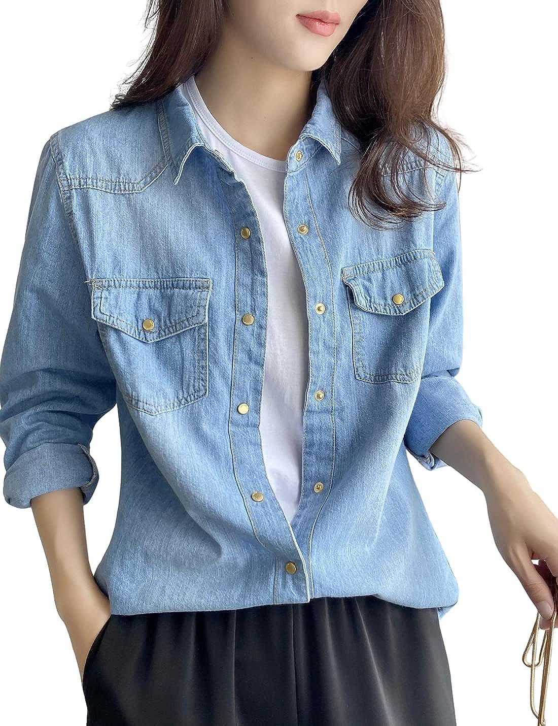 InterNos Women's Basic Denim Shirt Classic Sleeve Long Do Our shop most popular San Diego Mall Button