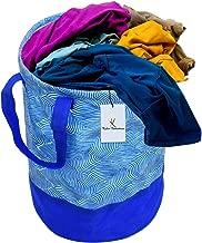Kuber Industries Laheriya Printed Waterproof Canvas Laundry Bag, Toy Storage, Laundry Basket Organizer 45 L (Blue) CTKTC134624