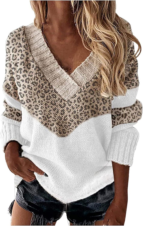 Women's Classic V Mail order Neck Leopard Size Lightwei Casual Plus Wholesale Sweater