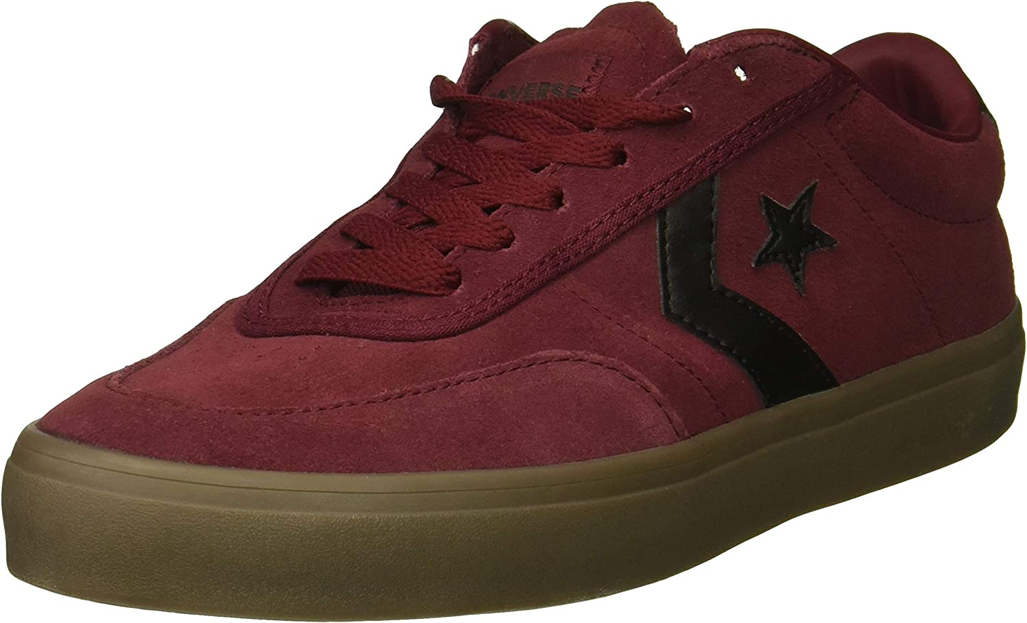 Converse Men's Courtlandt Suede Leather Accent Low Top Sneaker, Dark Burgundy Black Brown, 5.5 M US