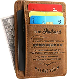 TOTWAY Wife to Husband Wallet Anniversary Valentine's Day Birthday Gifts for him RFID Genuine Leather Slim Wallet