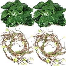 4Pcs Flexible Bend-A-Branch Jungle Vines Terrarium Leaves Lizard Gecko Habitat Tank Decor for Frogs, Snakes and More Reptiles
