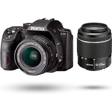 PENTAX K-70 ダブルズームレンズキット(DAL18-50mm+50-200mm) ブラック 海外モデル デジタル一眼レフカメラ 超高感度 2424万画素 アウトドアに最適 ボディ内手振れ補正 明るく見やすい視野率100%光学ファインダー 日本語取説付属 16296