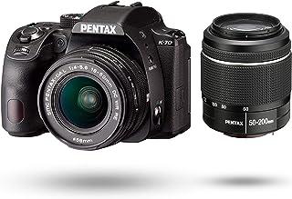 PENTAX K-70 ダブルズームレンズキット(DAL18-50mm+50-200mm) ブラック 海外モデル デジタル一眼レフカメラ 超高感度・高画質 2424万画素 アウトドアに最適 ボディ内手振れ補正 明るく見やすい視野率100%光学フ...