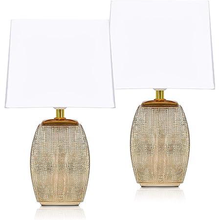BRUBAKER - Lampe de table/de chevet - Lot de 2 - Design élégant - Hauteur 38 cm - Pied en Céramique/Doré - Abat-jour en Coton/Blanc