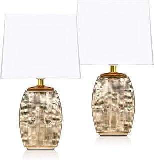 BRUBAKER - Lampe de table/de chevet - Lot de 2 - Design élégant - Hauteur 38 cm - Pied en Céramique/Doré - Abat-jour en Co...