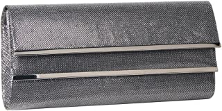 M10M15 Women Dark Silver Envelope Evening Clutch Handbags with Shiny Glitter and 2 Flaps