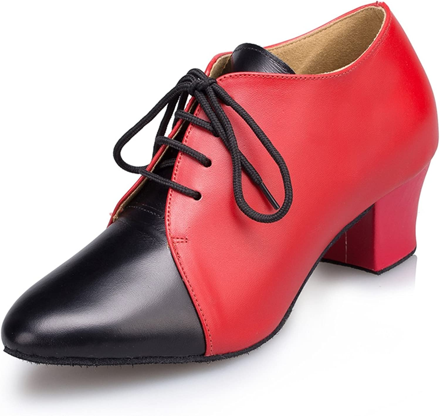 Miyoopark Women's Lace-up Low Heel Leather Latin Ballroom Dance shoes Evening Prom Pumps