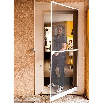 Werkapro 10763 - Puerta mosquitera (215 x 100 cm, marco de aluminio), color blanco y negro: Amazon.es: Bricolaje y herramientas