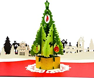 Paper Love Pop Up Christmas Card, Christmas Tree Card, 3D Xmas Card, Holiday Popup Cards