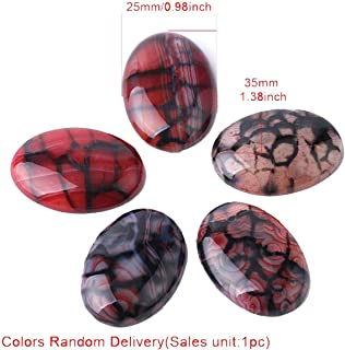 Oval Red Dragon Veins Cabochon Beads Pebble for Handcrafted Jewelry Making 15 x 20/18 x 25/25 x 35 mm,25x35mm