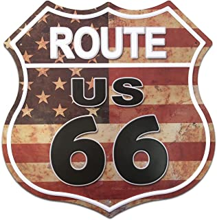 SUDAGEN US Route 66 Signs Vintage Metal Road Signs for Garage, Man Cave, Bar, Home Decoration (US Flag Route 66)