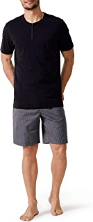DAVID ARCHY Men's Cotton Short Henley Sleepwear Classic Button-Down Pajamas Set