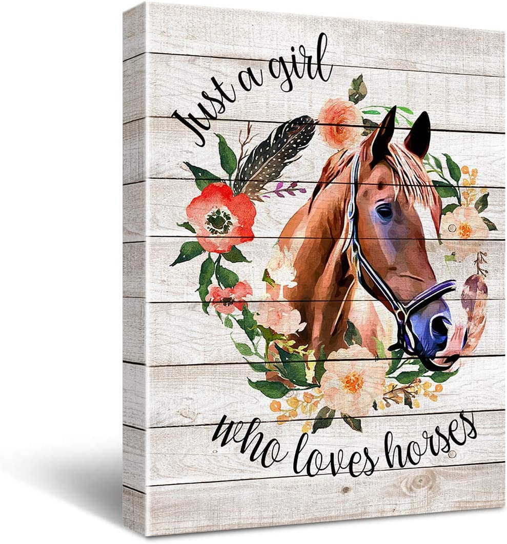 Just A Girl Who Loves Horses Poster Canvas Wall Art for Home Nursery Decor - Rustic Farmhouse Horse Girl Flower Canvas Print Wall Art Ready to Hang Decoration Gifts for Horse Lover Horse Rider Equestrian - Easel & Hanging Hook 12x15 Inch