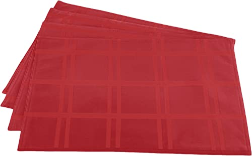 """2021 Cuisinart Easy Care Spill-Proof Brushed Microfiber lowest 4pk Placemat, high quality 13"""" x 19"""", Red outlet online sale"""