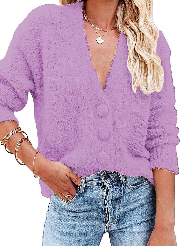 Acelitt Womens Button Down V Neck Long Sleeve Casual Sweater Cardigan Outwear Tops