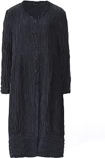 Grizas Women's Linen & Silk Crinkled Longline Jacket Grey