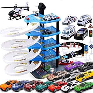 City Simulation Parking Garage Toy Park and Learn, Assembly Toys Gas Station Connectable (Color : B1)