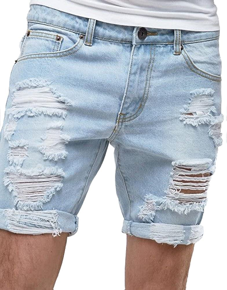 Men's Summer Ripped Distressed Smart Slim Fit Destroyed Denim Short Blue at  Amazon Men's Clothing store