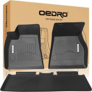 oEdRo Floor Mats Compatible for 2015-2019 Tesla Model S, Unique Black TPE All-Weather Guard Includes 1st and 2nd Row: Front, Rear, Full Set Liners