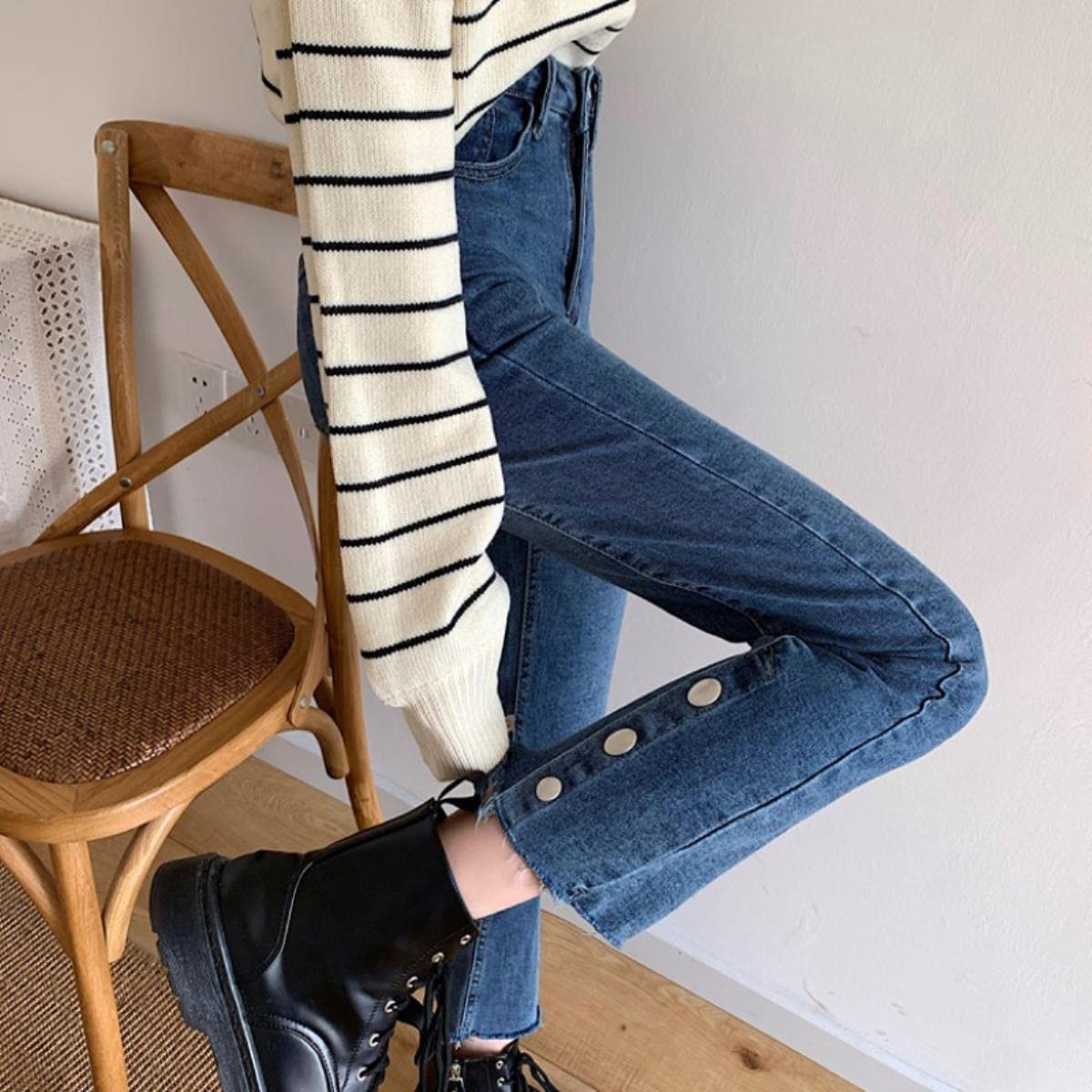 Spring 2021 New Stretchy High Waist Slimming Versatile Retro Straight-Leg Pants