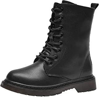 PPXID Boys Girls Leather Hiking Boots Lace-Up and Side Zip High Combat Boots Snow Boots