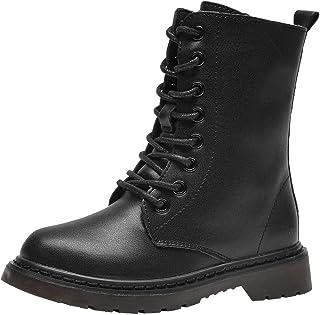 أحذية PPXID للأولاد والبنات من الجلد للتنزه مع أربطة وسحّاب جانبي أحذية عالية للقتال والثلوج