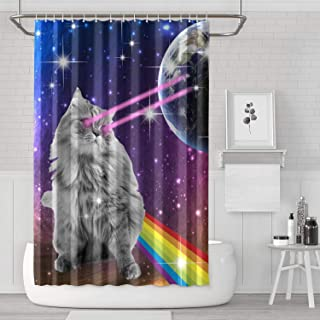 71x71 Inches Laser Eyes Space Kitty Cat Rainbow Shower Curtain Cool Modern Curtain