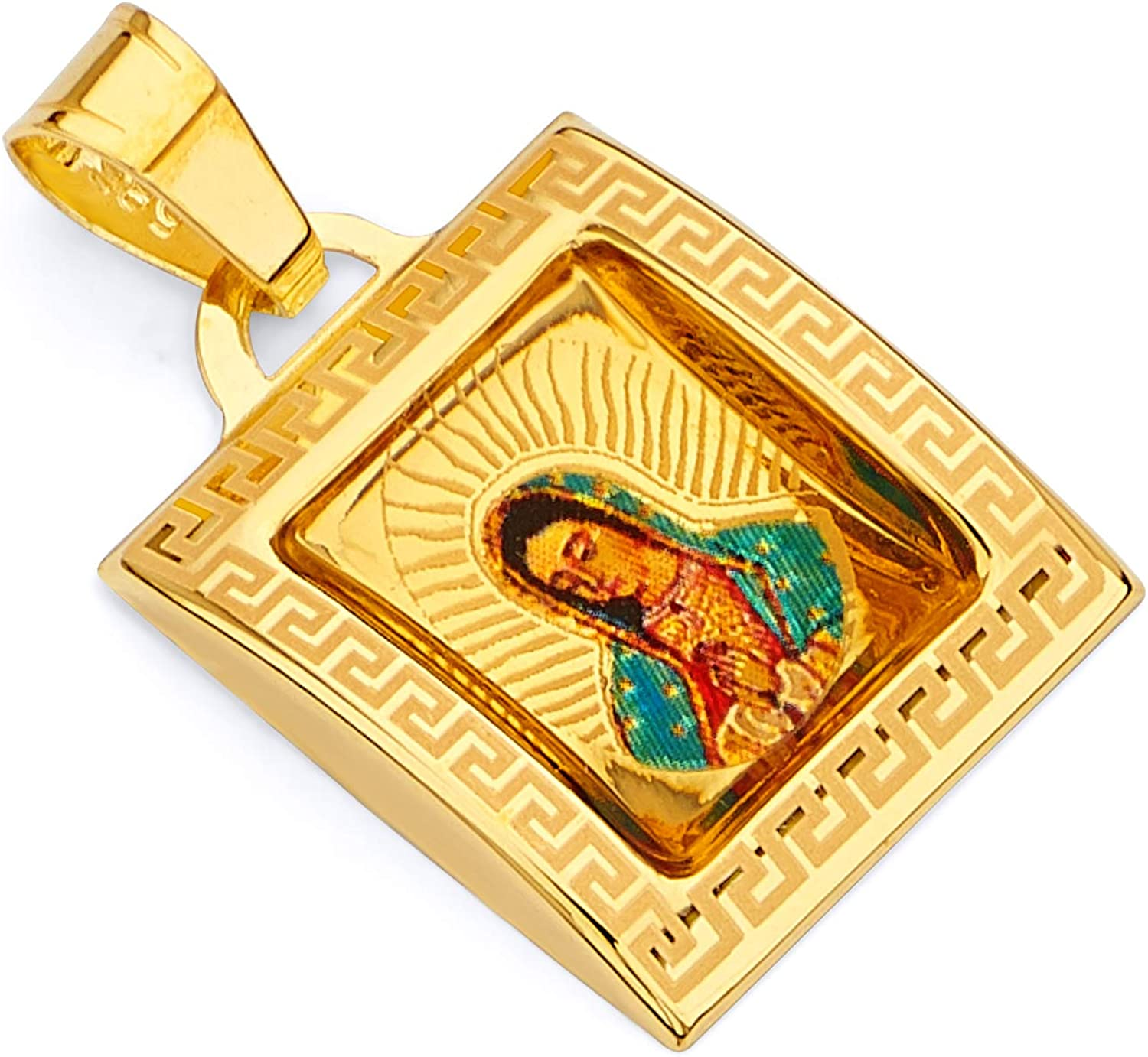 TWJC 14k REAL Popular product Yellow Gold Religious Guadalupe Enamel Lady Our Max 43% OFF of