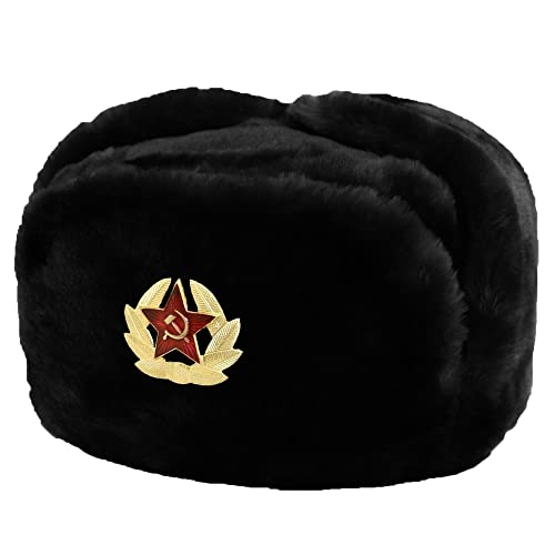 Evelyn Living Black Russian Trapper Hat With Soviet Badge Faux Fur Ushanka  Cossack Flaps 56cfa429024d