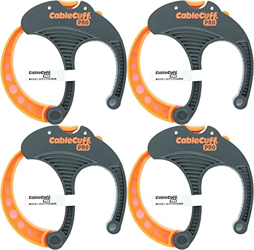 Cable Cuff PRO (4 Pack: 4x Large 3 Inch Diameter) Adjustable, Reusable, Cable Tie Replacements for Extension Cords or...
