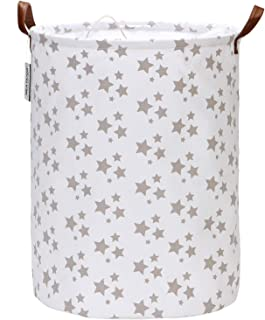 Sea Team Star Pattern Laundry Hamper Canvas Fabric Laundry Basket Collapsible Storage Bin with PU Leather Handles and Drawstring Closure, 17.7 by 13.8 inches, Waterproof Inner, White