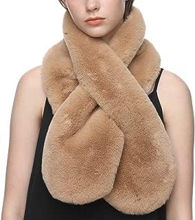 Dikoaina Womens Soft Faux Rabbit Fur Scarf Collar Multicolors
