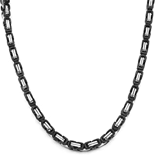 4-8mm Wide 16-36IN Stainless Steel Necklace Byzantine Necklace Black Silver Tone Men Jewelery