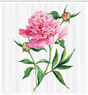 """Ambesonne Watercolor Flower Shower Curtain, Vintage Peony Painting Botanical Spring Garden Flower Nature Theme, Cloth Fabric Bathroom Decor Set with Hooks, 84"""" Extra Long, Pink White"""