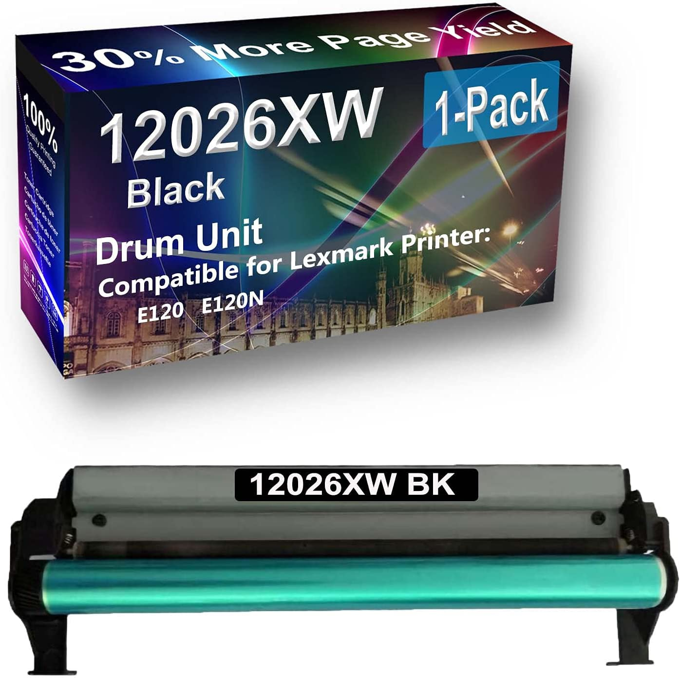 1-Pack (Black) Compatible E120 E120N Printer Drum Unit Replacement for Lexmark 12026XW Drum Kit