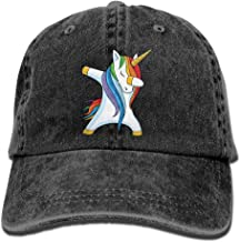 Unisex Dabbing Unicorn Yarn-Dyed Denim Baseball Cap Adjustable Glacier Cap for Men Or Women