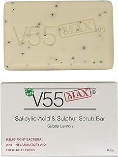 Jabón Exfoliante de Ácido Salicílico Aceite de Árbol de Té y Jabón Sulfúrico V55 MAX para Manchas Puntos Negros Milia Prob...
