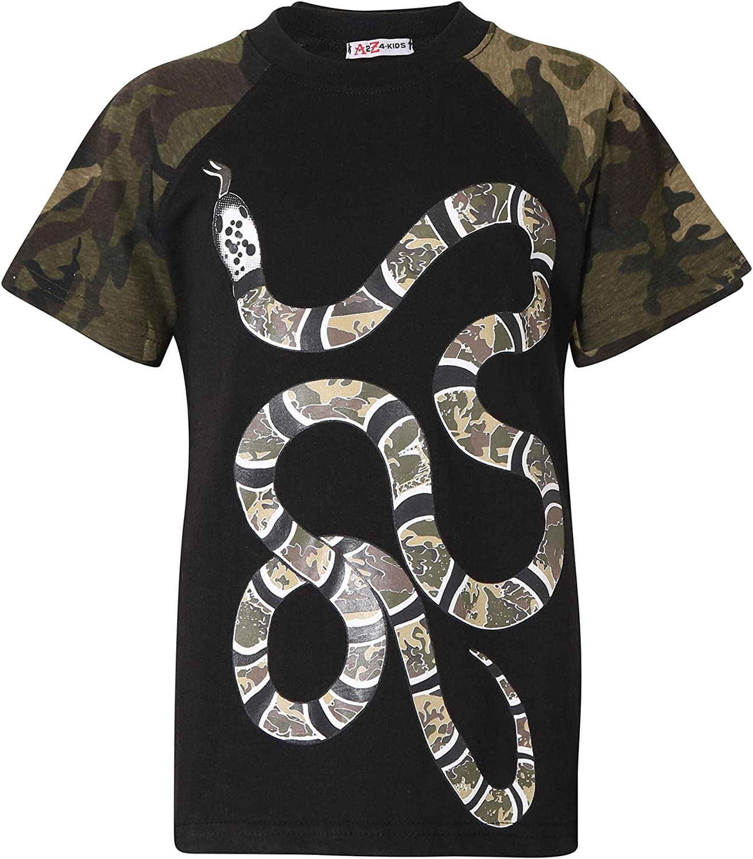 Boys T Shirts Kids Designer's 100% Cotton Green Snake Print T-Shirt New Age 5-13