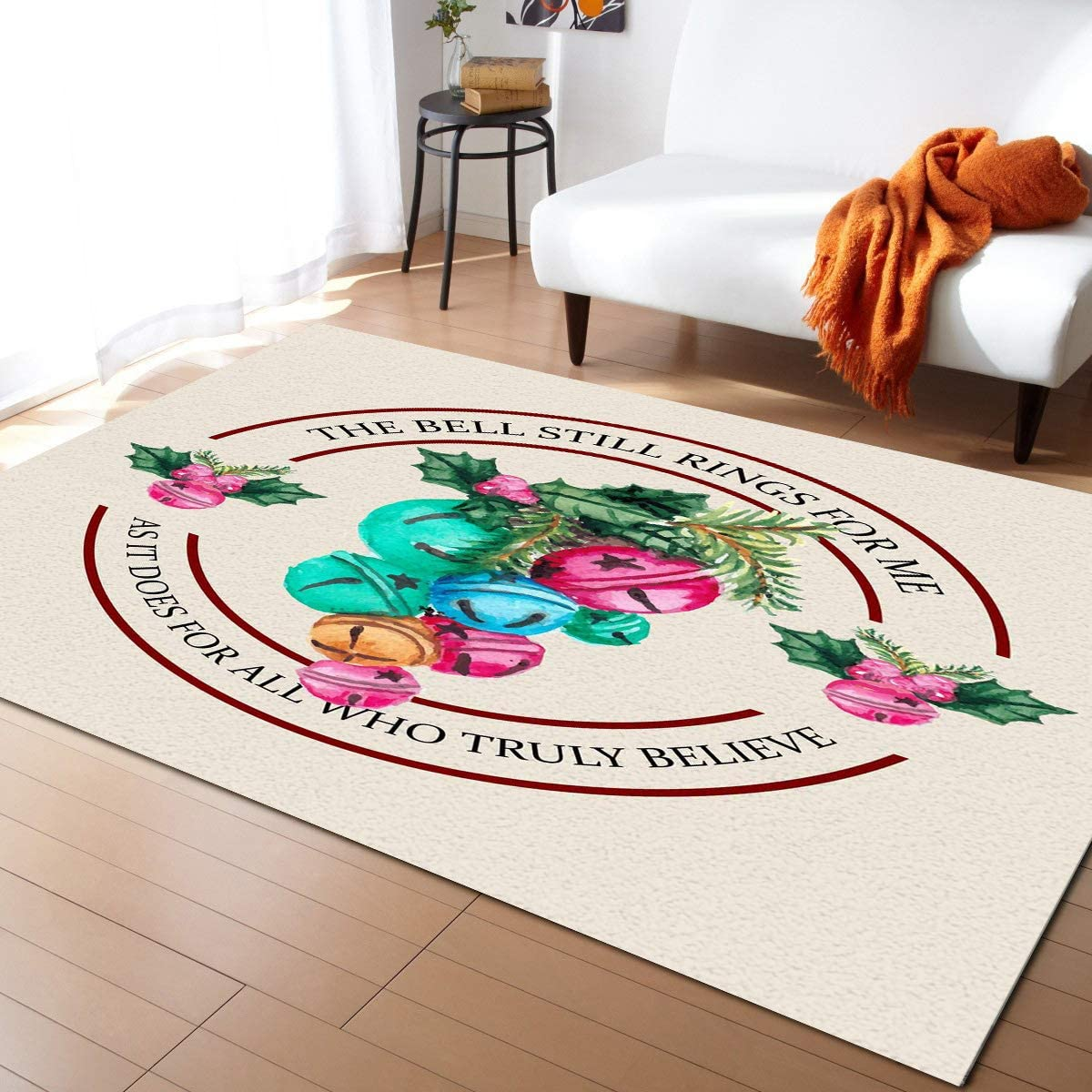 Aomike Indoor Area Outlet gift SALE Rug Doormat- Bell Christmas Round Decoration