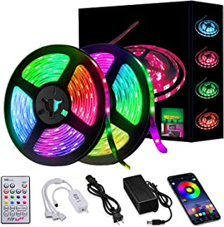 Led Strip Lights 32.8ft 10m Smart Music Sync LED Light Waterproof RGB Led Strips with APP Bluetooth IR Control and 12v Pow...