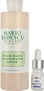Mario Badescu Witch Hazel & Rosewater Toner, 8 oz with free sample of pure hyaluronic acid